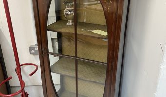 Edwardian display cabinet with inlay and hand painted floral design £225