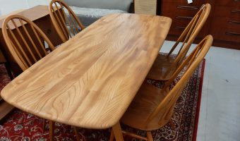 Ercol plank table and 4 chairs